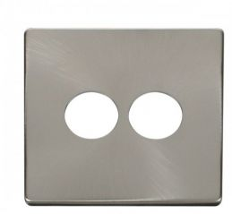 Scolmore Click Definity SCP222BS 2 Gang Toggle Switch Cover Plate Brushed Stainless