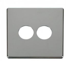 Scolmore Click Definity SCP222CH 2 Gang Toggle Switch Cover Plate Chrome