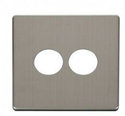 Scolmore Click Definity SCP222SS 2 Gang Toggle Switch Cover Plate Stainless Steel