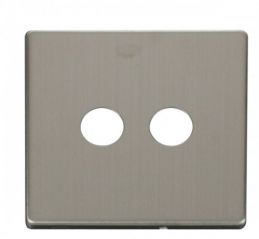 Scolmore Click Definity SCP232SS Twin Coaxial Socket Cover Plate Stainless Steel