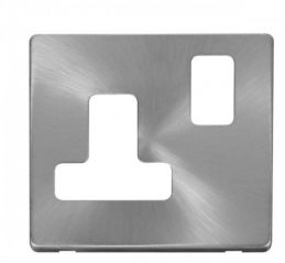Scolmore Click Definity SCP234BS 15A Round Pin Switched Socket Cover Plate Brushed Stainless