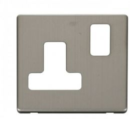 Scolmore Click Definity SCP234SS 15A Round Pin Switched Socket Cover Plate Stainless Steel
