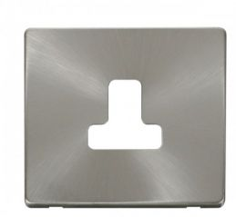Scolmore Click Definity SCP238BS 5A Round Pin Socket Outlet Cover Plate Brushed Stainless
