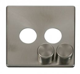 Scolmore Click Definity SCP242BS 2 Gang Dimmer Switch Cover Plate Brushed Stainless