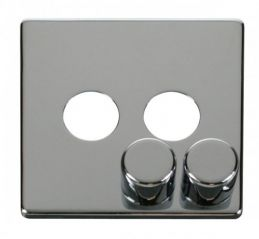 Scolmore Click Definity SCP242CH 2 Gang Dimmer Switch Cover Plate Chrome