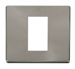 Scolmore Click Definity SCP310BS 1 Gang Plate Single Media Module Cover Plate Brushed Stainless