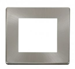 Scolmore Click Definity SCP311BS 1 Gang Plate Twin Media Module Cover Plate Brushed Stainless