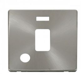Scolmore Click Definity SCP323BS 20A DP Switch With Flex Outlet & Neon Cover Plate Brushed Stainless