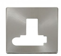 Scolmore Click Definity SCP351BS Switched Conn. Unit With Flex Outlet (Lockable) Cover Plate Brushed Stainless