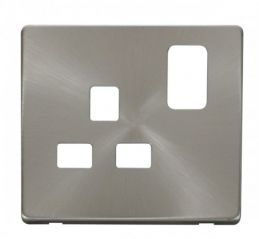 Scolmore Click Definity SCP435BS 1 Gang 13A Switched Socket Cover Plate Brushed Stainless