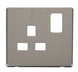Scolmore Click Definity SCP435SS 1 Gang 13A Switched Socket Cover Plate Stainless Steel