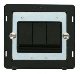 Scolmore Click Definity SIN013BK 10AX 3 Gang 2 Way Switch Insert Black