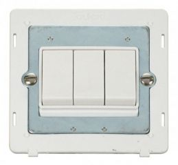 Scolmore Click Definity SIN013PW 10AX 3 Gang 2 Way Switch Insert White
