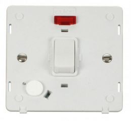 Scolmore Click Definity SIN023PW 20A DP Switch With Flex Outlet & Neon Insert White