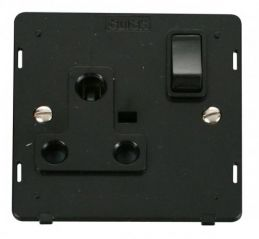 Scolmore Click Definity SIN034BK 1 Gang 15A Round Pin Switched Socket Insert Black