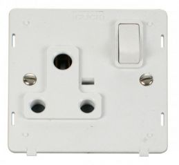 Scolmore Click Definity SIN034PW 1 Gang 15A Round Pin Switched Socket Insert White