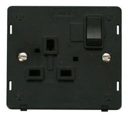 Scolmore Click Definity SIN035BK 1 Gang 13A DP Switched Socket Insert Black