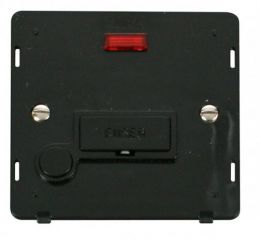 Scolmore Click Definity SIN053BK 13A Fused Connection Unit With Flex Outlet & Neon Insert Black