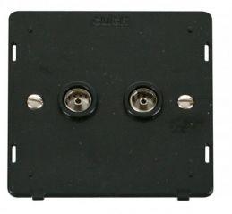 Scolmore Click Definity SIN066BK Twin Coaxial Socket Insert Black