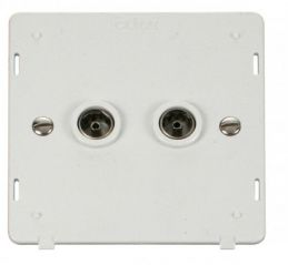 Scolmore Click Definity SIN066PW Twin Coaxial Socket Insert White
