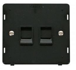 Scolmore Click Definity SIN118BK Twin RJ45 Socket Outlet Insert Black