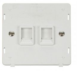 Scolmore Click Definity SIN118PW Twin RJ45 Socket Outlet Insert White