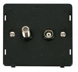 Scolmore Click Definity SIN170BK Satellite & Coaxial Socket Insert Black