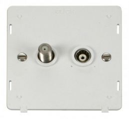 Scolmore Click Definity SIN170PW Satellite & Coaxial Socket Insert White