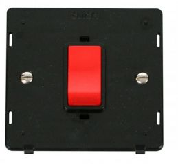 Scolmore Click Definity SIN200BK 45A 1 Gang Plate DP Switch Insert Black