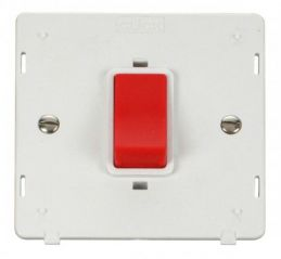 Scolmore Click Definity SIN200PW 45A 1 Gang Plate DP Switch Insert White