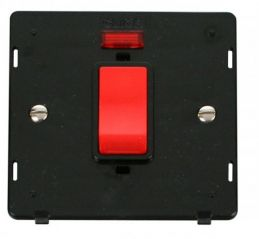 Scolmore Click Definity SIN201BK 45A 1 Gang Plate DP Switch With Neon Insert Black