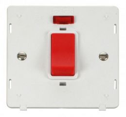 Scolmore Click Definity SIN201PW 45A 1 Gang Plate DP Switch With Neon Insert White