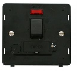 Scolmore Click Definity SIN252BK 13A Fused Switched Conn. Unit With F/O & Neon (Lockable) Insert Black