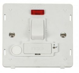 Scolmore Click Definity SIN252PW 13A Fused Switched Conn. Unit With F/O & Neon (Lockable) Insert White