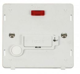 Scolmore Click Definity SIN253PW 13A Fused Conn. Unit With Flex Outlet & Neon (Lockable) Insert White
