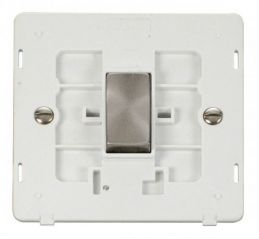 Scolmore Click Definity SIN411PWBS INGOT 10AX 1 Gang 2 Way Switch Insert White/Brushed Stainless