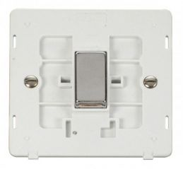 Scolmore Click Definity SIN411PWCH INGOT 10AX 1 Gang 2 Way Switch Insert White/Chrome