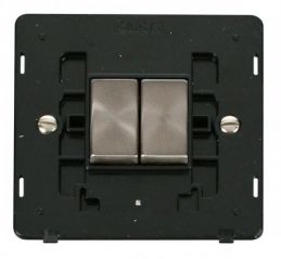 Scolmore Click Definity SIN412BKBS INGOT 10AX 2 Gang 2 Way Switch Insert Black/Brushed Stainless