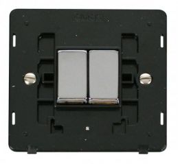 Scolmore Click Definity SIN412BKCH INGOT 10AX 2 Gang 2 Way Switch Insert Black/Chrome