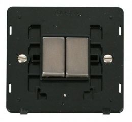 Scolmore Click Definity SIN412BKSS INGOT 10AX 2 Gang 2 Way Switch Insert Black/Stainless Steel