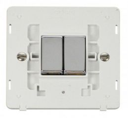 Scolmore Click Definity SIN412PWCH INGOT 10AX 2 Gang 2 Way Switch Insert White/Chrome