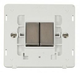 Scolmore Click Definity SIN412PWSS INGOT 10AX 2 Gang 2 Way Switch Insert White/Stainless Steel