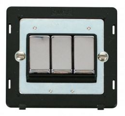 Scolmore Click Definity SIN413BKCH INGOT 10AX 3 Gang 2 Way Switch Insert Black/Chrome