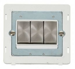 Scolmore Click Definity SIN413PWBS INGOT 10AX 3 Gang 2 Way Switch Insert White/Brushed Stainless