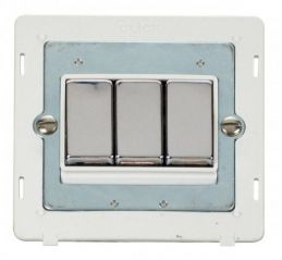 Scolmore Click Definity SIN413PWCH INGOT 10AX 3 Gang 2 Way Switch Insert White/Chrome
