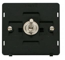 Scolmore Click Definity SIN420PN 10AX 1 Gang Intermediate Toggle Switch Insert Pearl Nickel