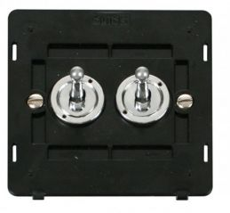 Scolmore Click Definity SIN422CH 10AX 2 Gang 2 Way Toggle Switch Insert Chrome