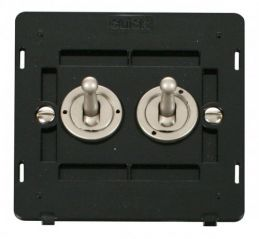 Scolmore Click Definity SIN422PN 10AX 2 Gang 2 Way Toggle Switch Insert Pearl Nickel