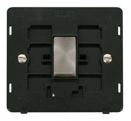 Scolmore Click Definity SIN425BKBS INGOT 10AX 1 Gang Intermediate Switch Insert Black/Brushed Stainless