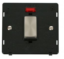 Scolmore Click Definity SIN501BKBS INGOT 45A 1 Gang Plate DP Switch With Neon Insert Black